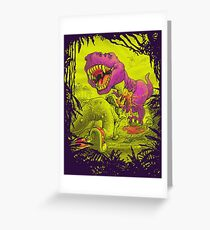 Bloody Extinction of Purple T Rex Dinosaur Greeting Card