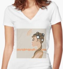 EEG Machine Women's Fitted V-Neck T-Shirt