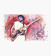 Jazz Guitarist Marcus Miller Red Photographic Print