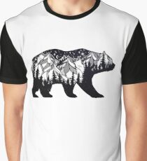 Wanderlust California Bear Silhouette with Mountains Landscape, Trees, Moon & Stars Graphic T-Shirt