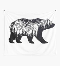 Wanderlust California Bear Silhouette with Mountains Landscape, Trees, Moon & Stars Wall Tapestry