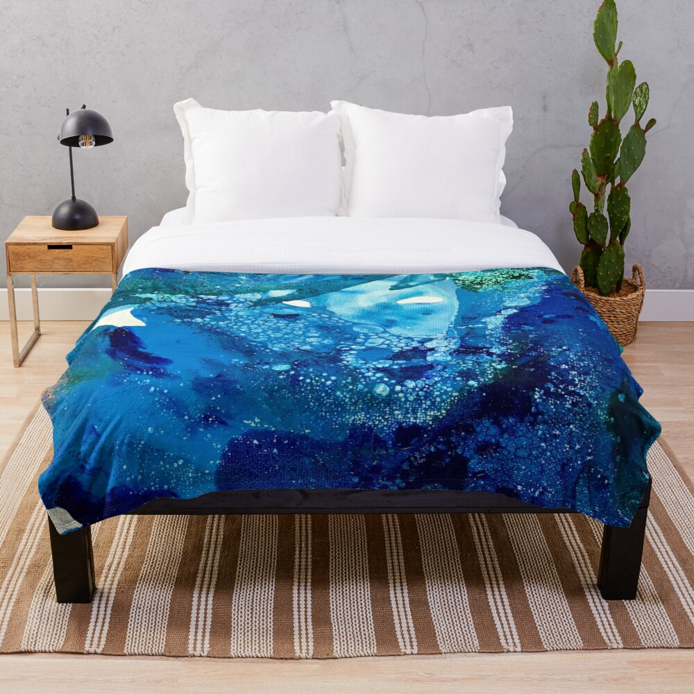 Environmental Blue Leaves, Tiny World Collection Throw Blanket