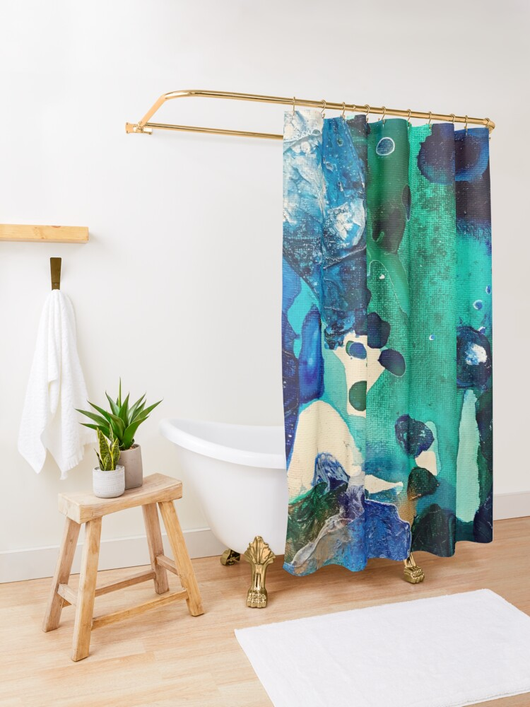 Alternate view of The Wonders of the World, Tiny World Collection Shower Curtain