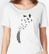 Birds flying from feather Women's Relaxed Fit T-Shirt