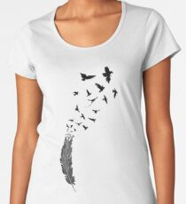 Birds flying from feather Women's Premium T-Shirt