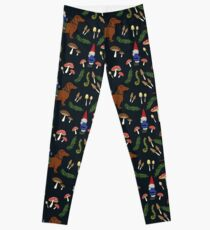 Gnome and Dachshund in the Mushroom Forest, Black Background Leggings