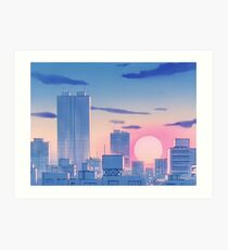 Sailor Moon City Landscape Art Print
