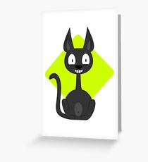 Happy Cartoon Cat VRS2 Greeting Card