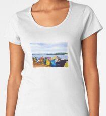 Port Macquarie Breakwall Graffiti Watercolour Painting Women's Premium T-Shirt