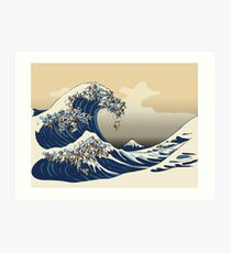 The Great Wave of Pugs Vanilla Sky Art Print