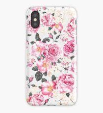 Modern vintage pink black roses floral pattern iPhone Case/Skin