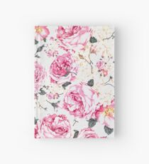 Modern vintage pink black roses floral pattern Hardcover Journal