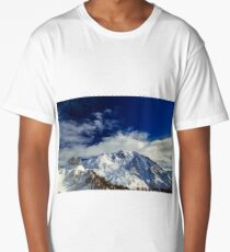 Sunny winter day with the mountains full of snow Long T-Shirt