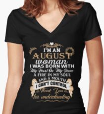 I'm an August woman T-shirt Women's Fitted V-Neck T-Shirt