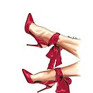 Red satin bow heels by Elza Fouche