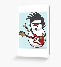 Cute Electric Guitar Disguised Snowmen Greeting Card