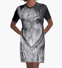 Tree Heart Black and White Graphic T-Shirt Dress