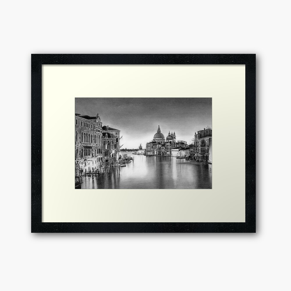Venice pencil drawing framed art print