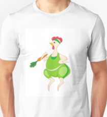 A funny hen in a workout outfit with a carrot T-Shirt