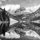 Maroon Bells BW Covered In Snow - Aspen Colorado by Gregory Ballos