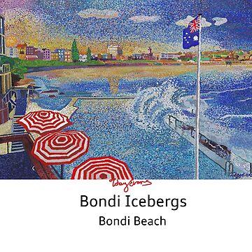 Bondi Icebergs- Bondi beach with black text  by tobycentreart