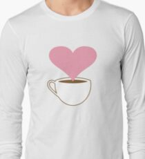 Concept. Coffee lover. Cup of coffee. Smoke heart shaped  T-Shirt