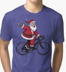 Santa Claus Riding A Road Bike Tri-blend T-Shirt