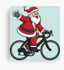 Santa Claus Riding A Road Bike Canvas Print