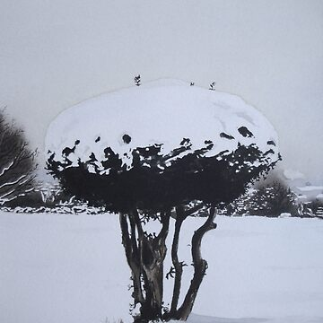 Christmas snow landscape scenic original art  by pollywolly
