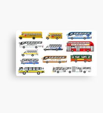 Buses - The Kids' Picture Show - Pixel Art Canvas Print