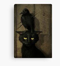 Lienzo El cuervo y el gato