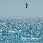Kite Surfing A Silver Sea by metriognome