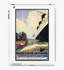 Vintage Travel Poster - Paris, Le Havre, New York iPad Case/Skin