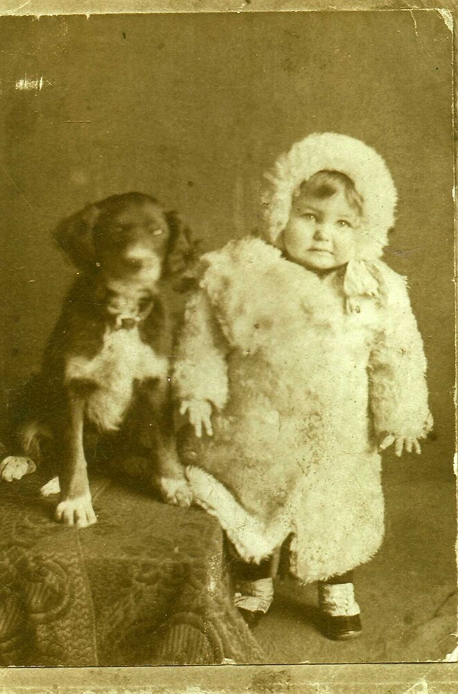MY MOTHER WITH HER DOG BATRICK 1907 by DIANEPEAREN