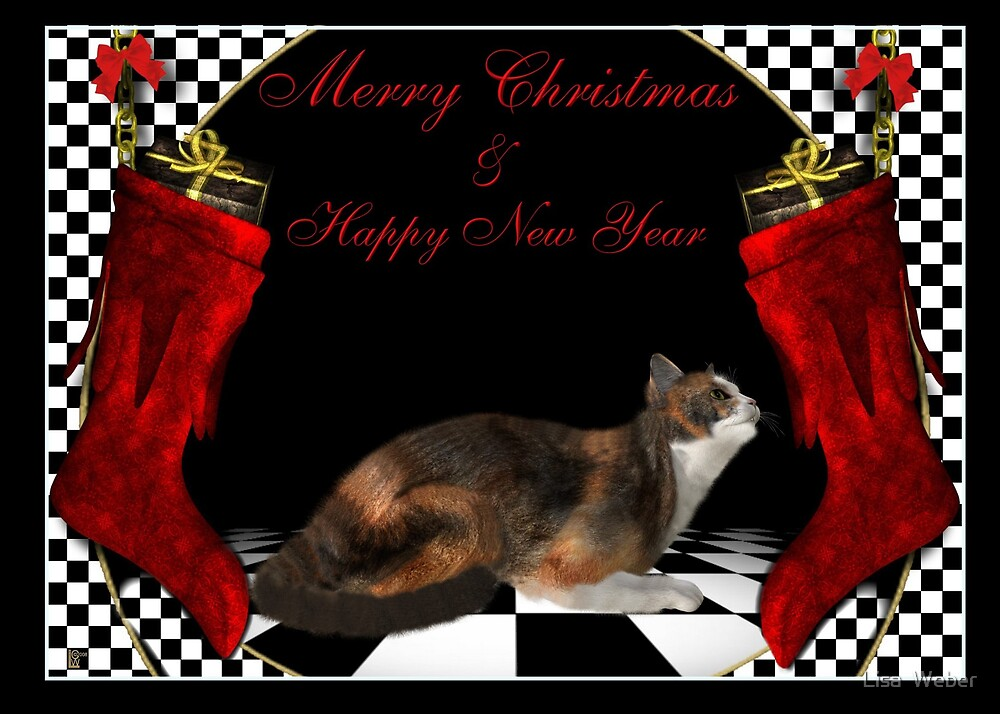 Personalized Christmas Cards Cats: Example Calico by Lisa  Weber