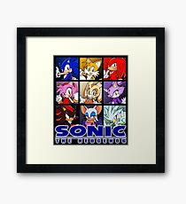 Sonic characters wallpaper [Photoshop] Framed Print