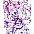 Snake & Peonies ink illustration by Cristina Cerulli