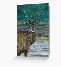 Standing Proud - Stag Embroidery - Textile Art Greeting Card