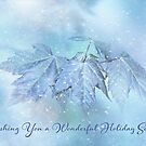 Snowy Baby Leaves Winter Holiday Card by Anita Pollak