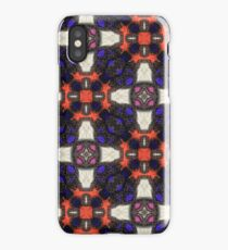 Red Orange and Indigo with Black Stitching and Pink and White Accents on with Leather and Suede iPhone Case/Skin