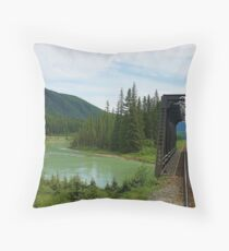railway river bridge Throw Pillow
