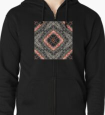 Red and Black Leather Texture, Macro Photo of Stitched Leather Mosaic Art Zipped Hoodie
