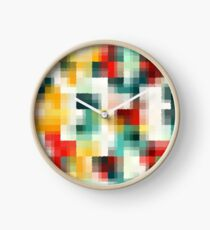 Red Blue Green Yellow White Abstract Pattern Clock