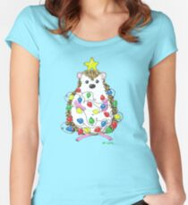 An Adorable Hedgehog Holiday Women's Fitted Scoop T-Shirt