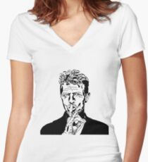 David Bowie Tee - Sshhh Women's Fitted V-Neck T-Shirt