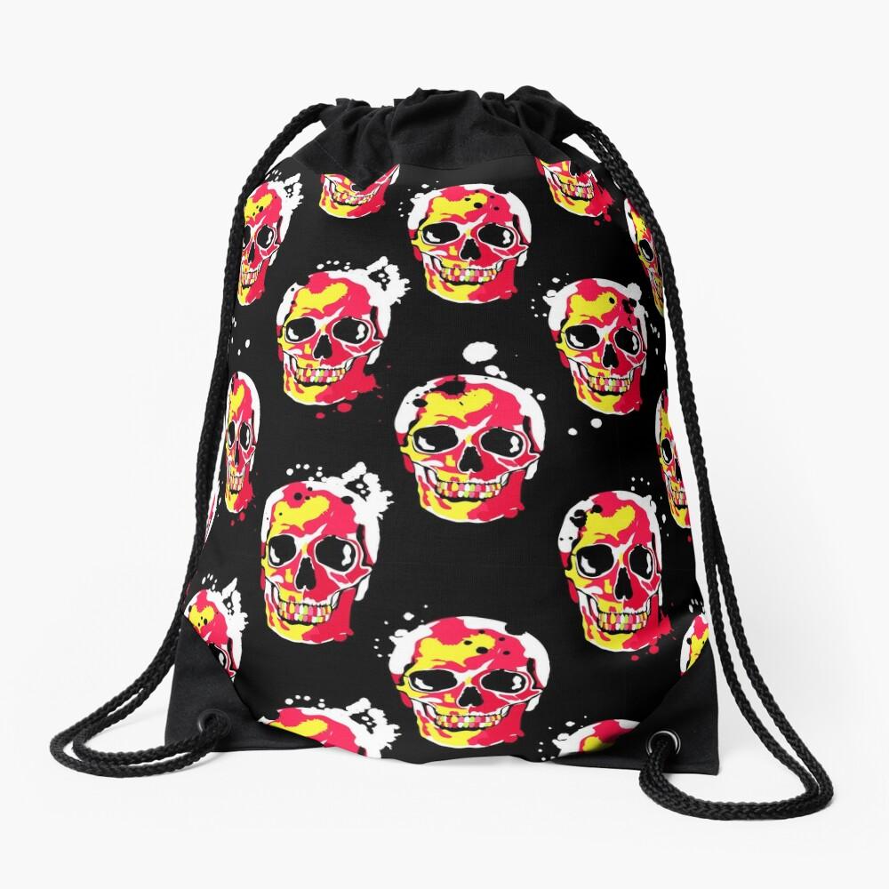 fire skull Drawstring Bag Front