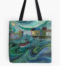 Tossed About - Fishing Boat and Waves Embroidery - Textile Art Tote Bag