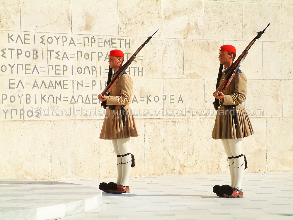 Greek Guards by Richard Hanley www.scotland-postcards.com