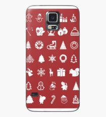 Red Icons Xmas Funda/vinilo para Samsung Galaxy
