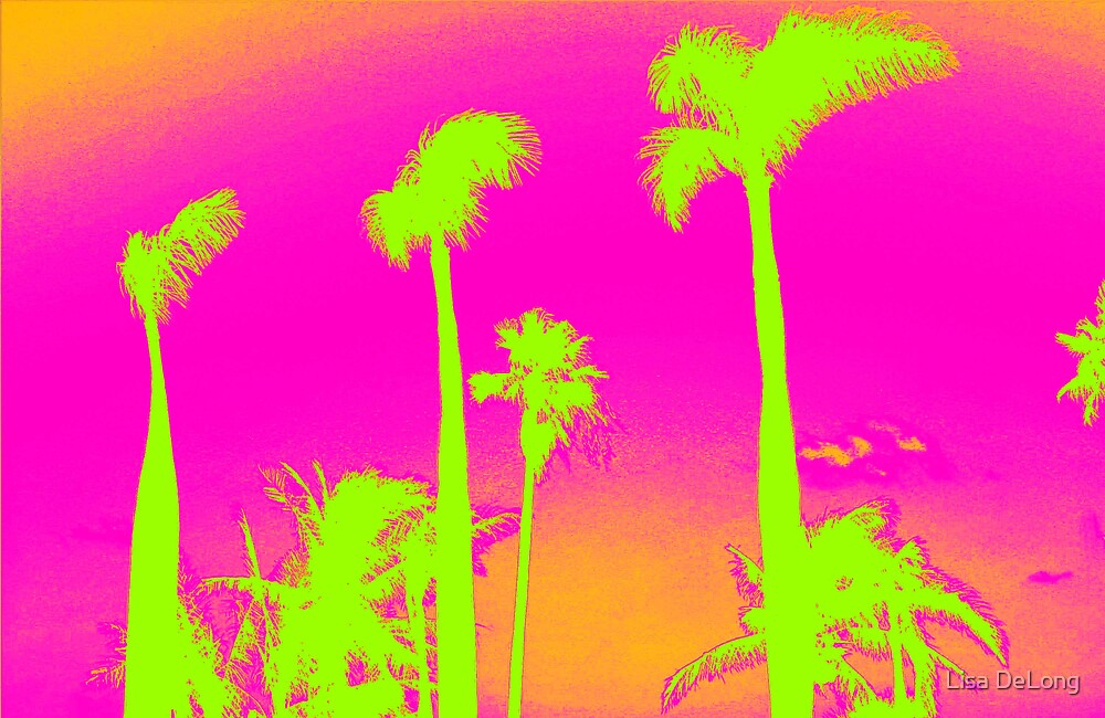 Pink Palm Trees by Lisa DeLong